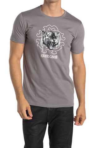 Roberto Cavalli Tiger Graphic Crew Neck Cotton T-Shirt GREY HST618A47504936