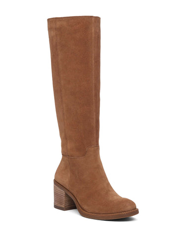 Lucky Brand Ritten Honey Brown Suede Knee High Western Riding Boot