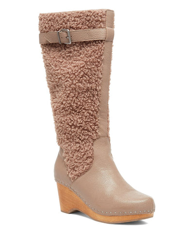 KELSI DAGGER Women's Jagger Knee High Wedge Round toe Boot TAUPE