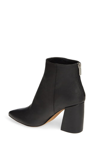 Vince Camuto Benedie Pointed Toe Block Heel Leather Bootie BLACK
