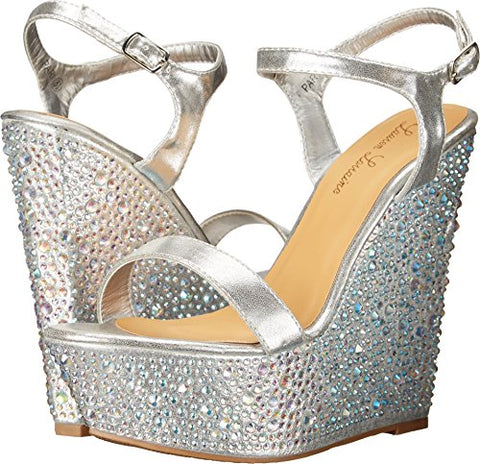 Lauren Lorraine PARI Silver Super High Platform Wedge Rhinestone Formal Sandals