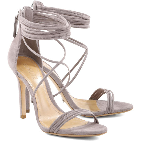 Schutz Women's Amandita Mouse Taupe Strappy High Heel Sandal Pumps