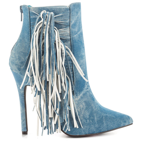 Luichiny Going Fast Pointed Toe High Stiletto Distressed Denim Fringe Ankle Boot