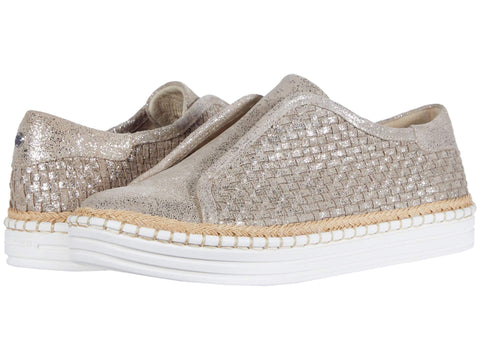 Jslides Women's Kayla Woven Slip-On Platform Sneakers GOLD BRUSH SUED