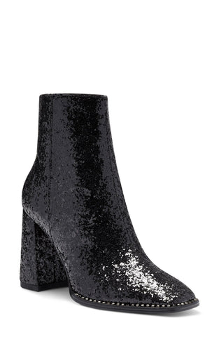 Jessica Simpson Silvya Black Glitter Block Heel Disco Square Toe Ankle Booties
