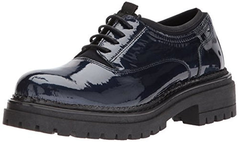 Shellys London Kemper Navy Patent Leather Lace Up Platform Creeper Oxford Shoes