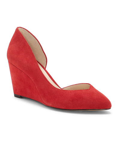 1.State Melman Fire Red Wedge Low Heel D'orsay Pointed Toe Low Cut Dress Pumps