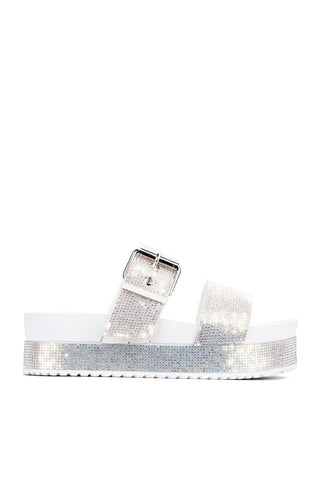 Cape Robbin Women's Praise Platform Strappy Rhinestone Flat  Slip On Sandals