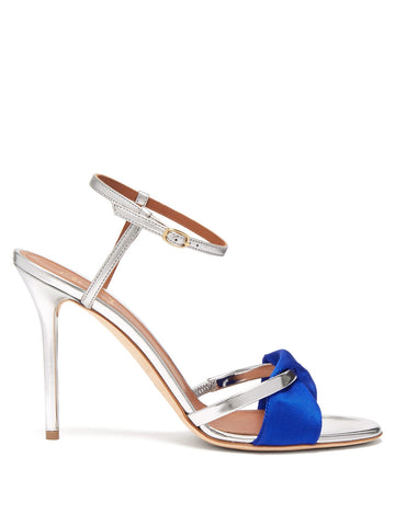 MALONE SOULIERS Satin-Twill and Metallic Silver Leather HIgh Heel Pump Sandals