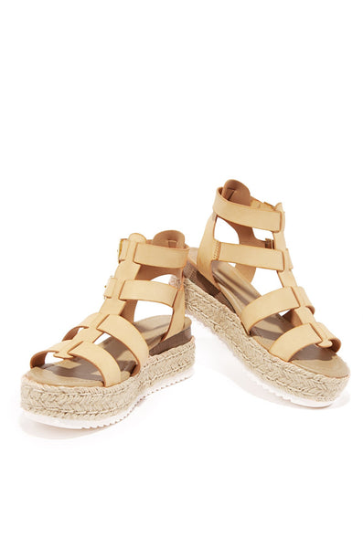 Soda Embassy Nude Caged Espadrille Open Toe Platform Flatform Wedge Sandals