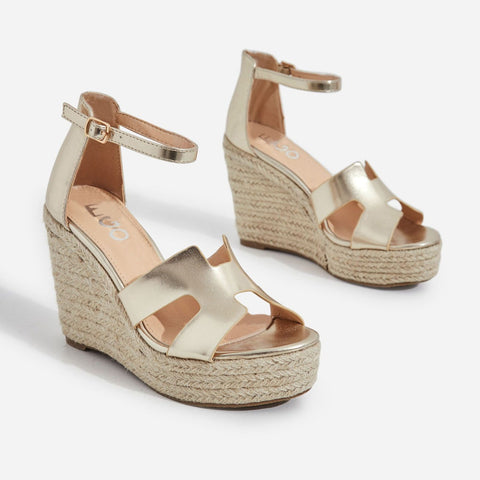 Lemonade Kayson Gold Unique H Vamp Platform Wedge Espirdrille Sandals