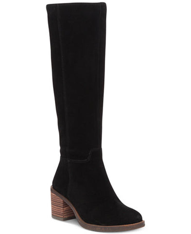 Lucky Brand Women's Ritten Riding Boot Black Suede Knee High Riding Boots