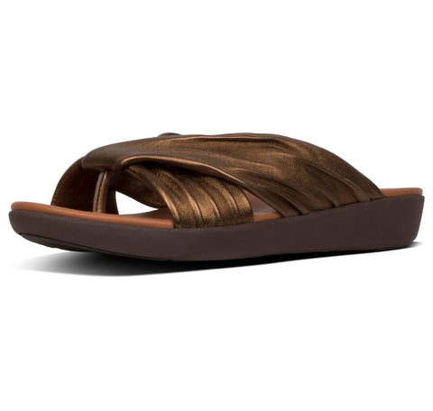 FitFlop Women's Twine Toe Slip on Slide Post Sandal Bronze