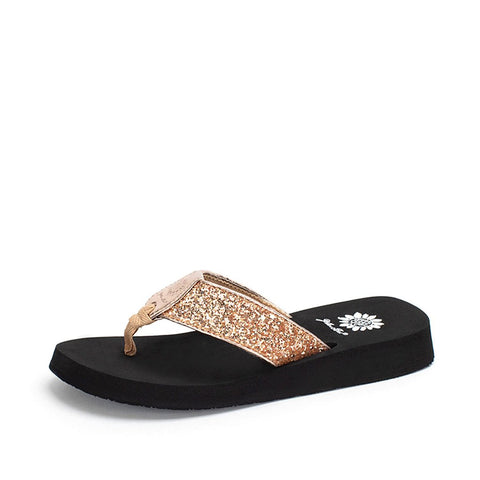 Yellow Box Feliks Flat Slip On Slide Thong Sandal Rose Gold
