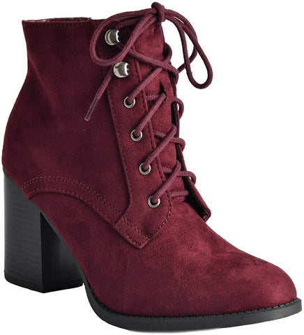 Soda Women's Block Heel Closed Toe Booties Vino Burgundy Lace Up Ankle Booties