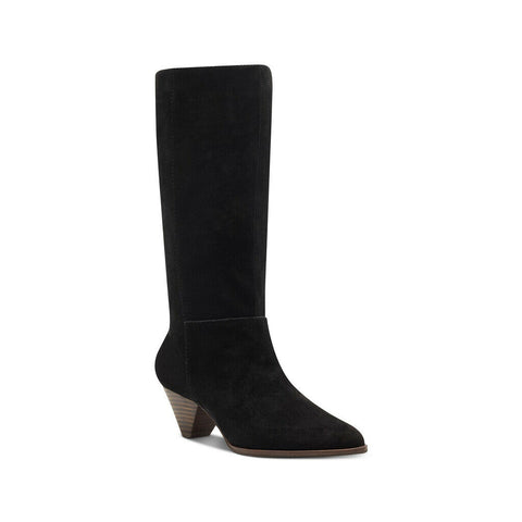 Lucky Brand Fukko Black Suede Pointed Cone Heel Mid Calf Boot
