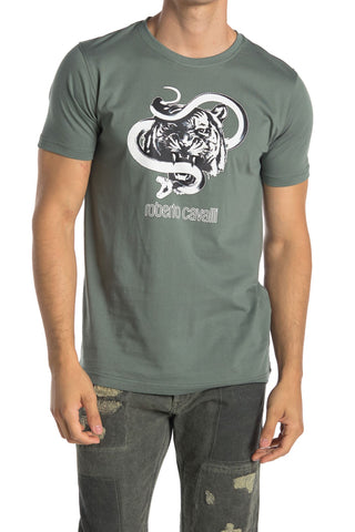 Roberto Cavalli Tiger & Snake Graphic Crew Neck T-Shirt GREEN HST609A47504940