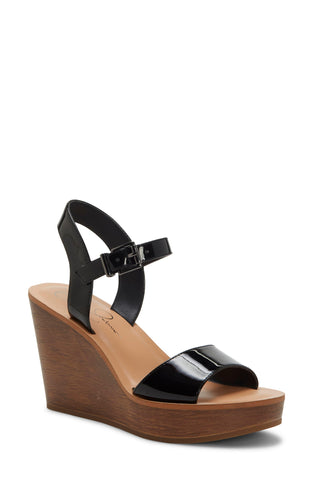 Jessica Simpson Women's MIERCEN Platform Ankle Strap Wrapped Wedge Sandals BLACK