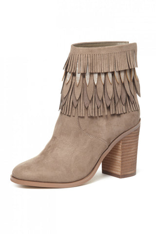 Yellow Box sunny taupe bootie Suede Fringe Block Heels Ankle Booties