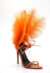 Cape Robbin Jazmine Orange Feather Strappy Lace Up Pointy Open Toe High Sandals