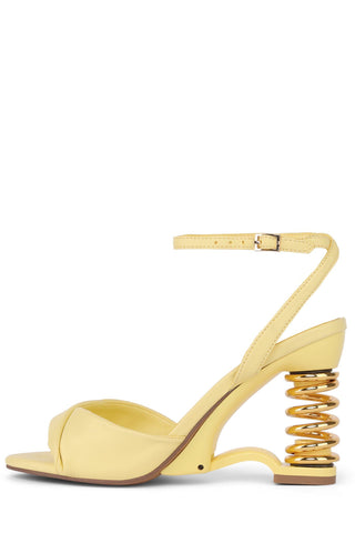Jeffrey Campbell Sprung Yellow Gold Spring Heel HIgh Heel Ankle Strap Sandals