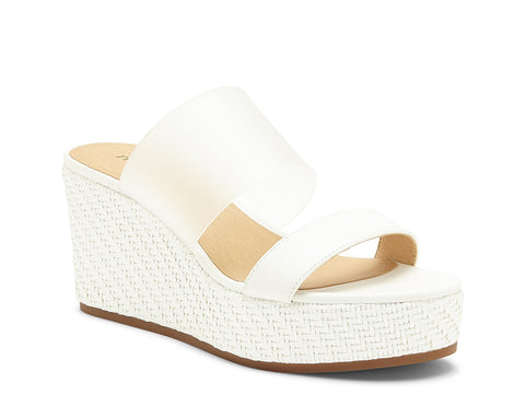 Lucky Brand Women's Brindia Strappy Slip-on Wedge Sandal WHITE/CLEAR