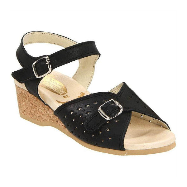 Worishofer Women's 811 Comfort Ankle Strap Sandal Black Leather Granny Sandals