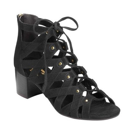 Aerosoles A2 Women's Middle-NAME Black Lace Up Block Heeled Sandal