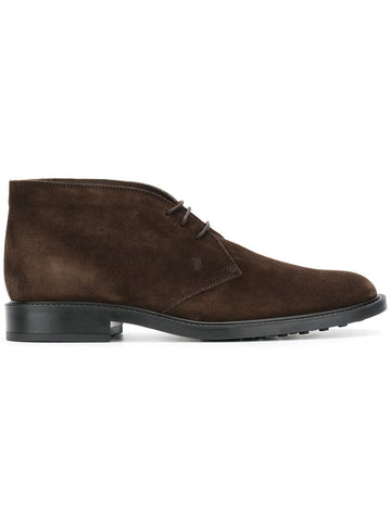 Tod's Men's Polacco Suede Leather Lace Up Oxfords Shoes Brown Suede Boots