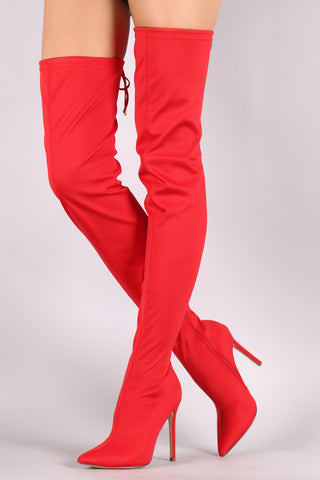 Liliana Gisele-7 Red faux Suede Pointy Toe Thigh High Single Sole Stiletto Boot
