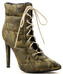 Cape Robbin Gigi-135 Camo Lace Up Pointed Pointy Toe Puffer Ankle Booties Boots