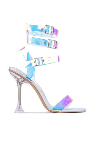 CAPE ROBBIN LUXURIOUS SANDAL HEELS HOLOGRAM OPEN TOE STRAPPY SANDALS PUMPS