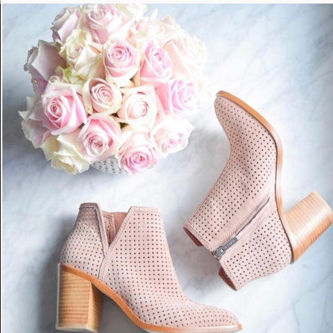 1.State Larocka Blush Suede Pointed Toe Stacked Heel Perforated Ankle Bootie