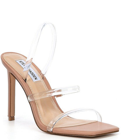 Steve Madden Gracey Clear Vinyl Square Toe Dress Sandals