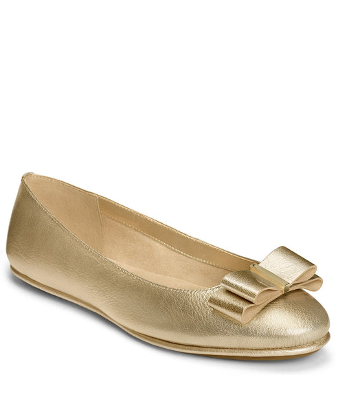 Aerosoles Conversation Gold Patent with Playful Bow Slip On Ballet Flats