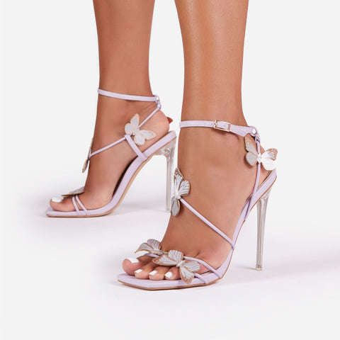 Luxemoda Aisha Butterfly Square Toe Clear Faux Leather Perspex Heel Lilac