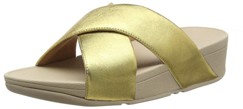 Fitflop Womens Lulu Cross Slide Artisan Gold Slip On Mule Wedge Sandals