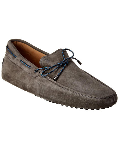 Tod's Men's Gray Gommino Suede Driver
