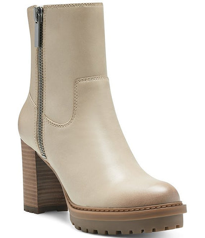 Lucky Brand Bajax Leather Dune Nude Lug Sole Block Heel Booties