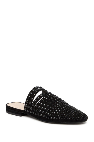 Cecelia New York Potz BLACK Pearl Embellished Strappy Slip On Leather Mule Slide
