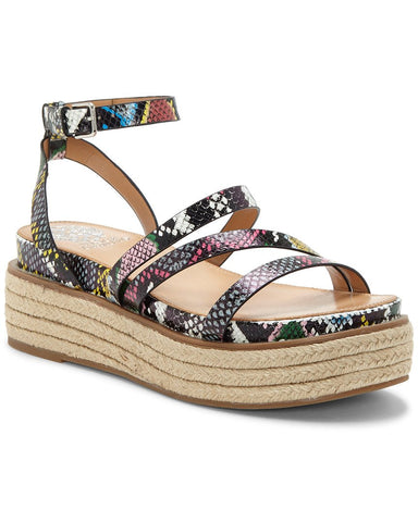 Vince Camuto Aevie Snake Print Leather Strappy Platform Espadrille Sandals MULTI