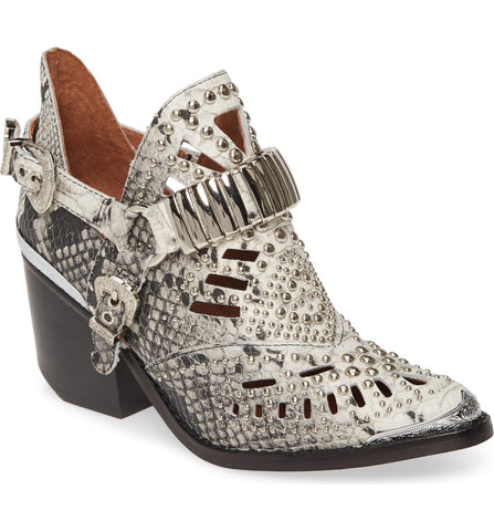 Jeffrey Campbell Calhoun-4 Western Heel bootie Black White Snake Silver Boot