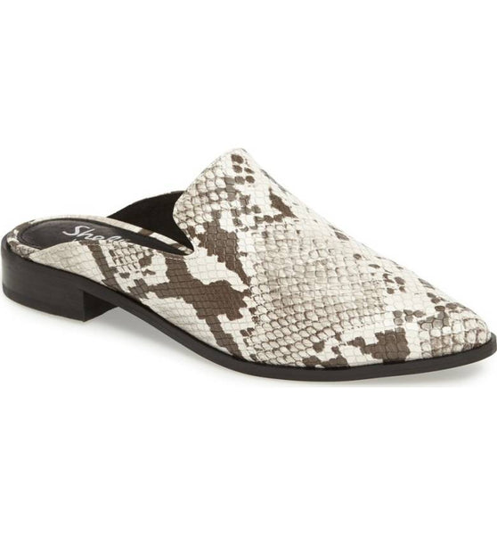 Shellys London Cantara Snake Leather Pointed Toe Sleek Contemporary Slide Mule