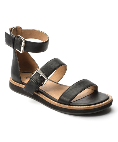 Jane and the Shoe JENNA Sandal Black Leather open Toe Platform