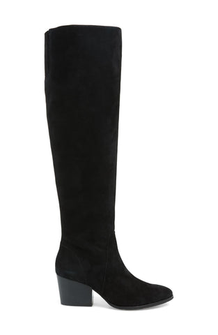 Vince Camuto NESTEL Black Suede Round Toe Block Heel Knee High Boot BLACK