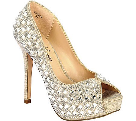 Lauren Lorraine CAROL PUMP TOE HIGH HEEL PLATFORM NUDE MIRROR STONE PUMPS