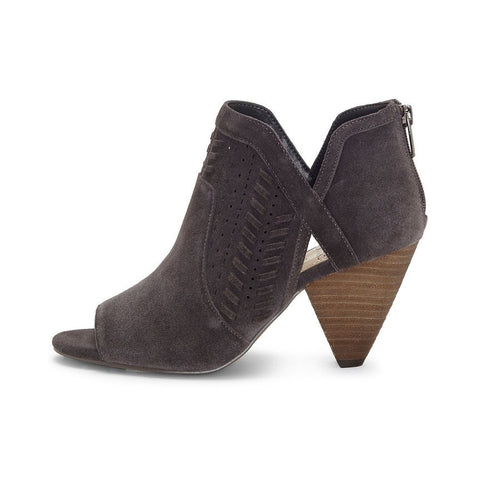 Vince Camuto Ebelin Open Toe Bootie Grey Cut Out Stacked Heel Suede Pump