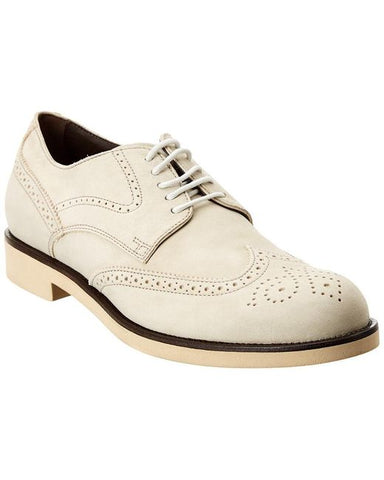 Tod's Men's Natural Leather Shoes Wingtip Lace Up Oxford