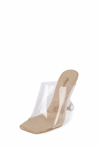 JEFFREY CAMPBELL Bare Slide Sandal Nude Suede Clear Transparent Mules