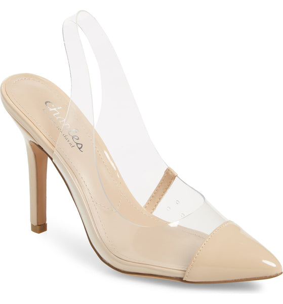 Charles by Charles David Madalyn Clear Slingback Strap Stiletto Heel Pumps